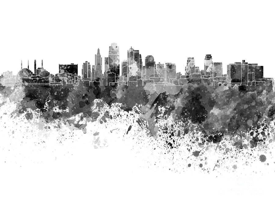 900x675 Kansas City Skyline In Black Watercolor On White Background