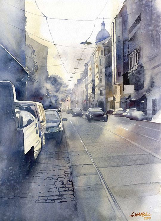 540x742 Must See Urban Watercolor Paintings From Different Artists