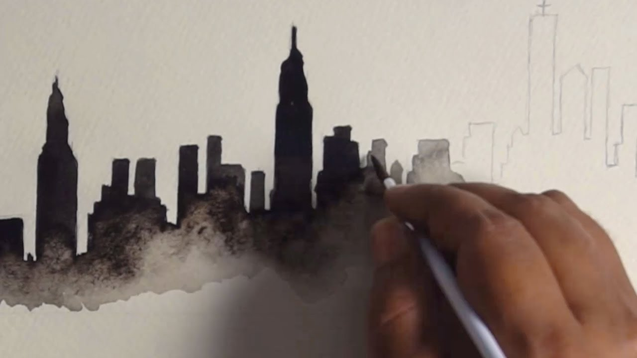 1280x720 New York City Skyline Watercolor Painting
