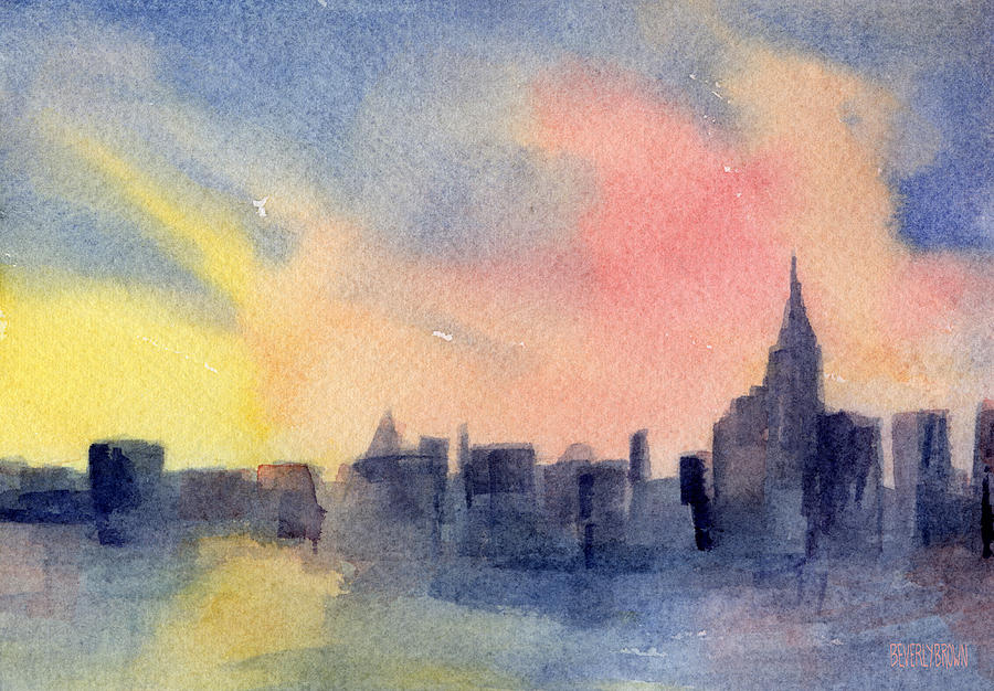 900x626 New York Skyline Empire State Building Pink And Yellow Watercolor