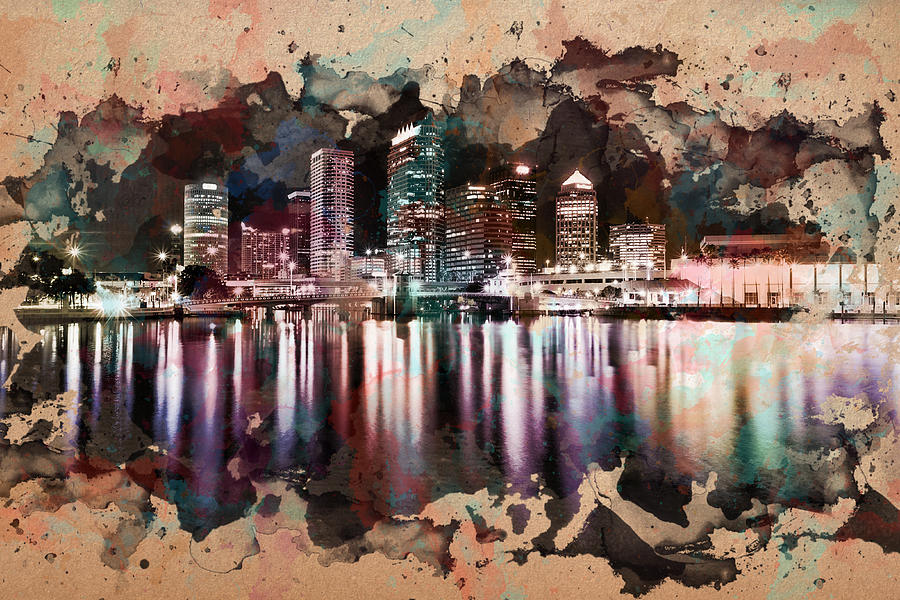 900x600 Night City Reflections Watercolor Painting Painting By Georgeta