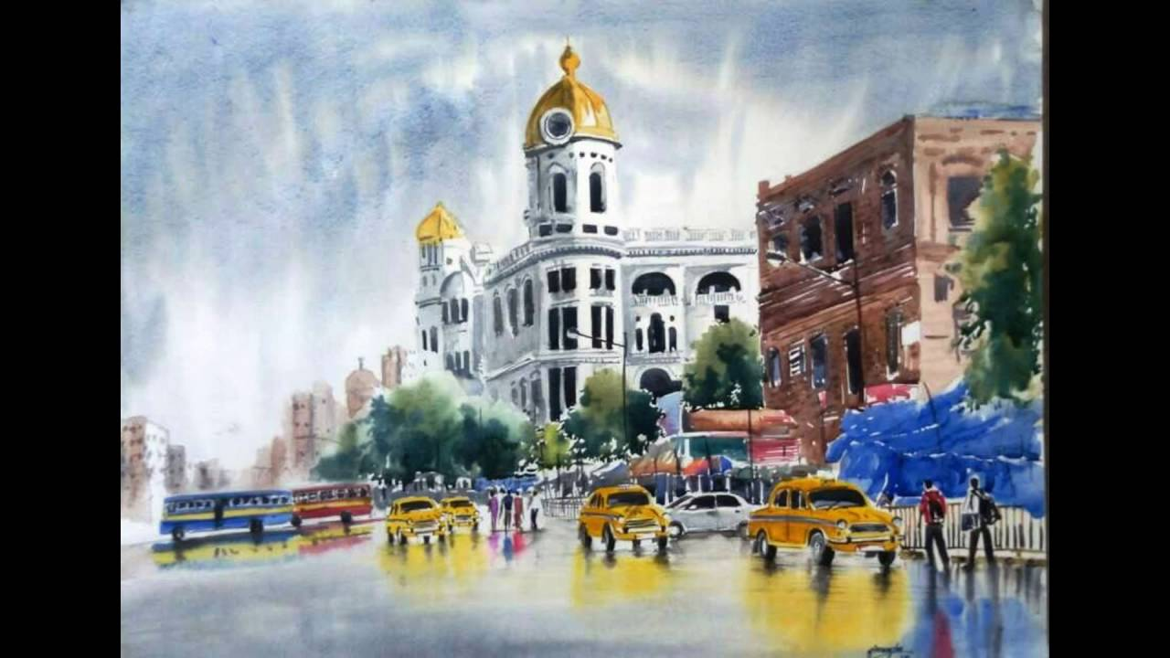 1280x720 Kolkata City Water Color Painting