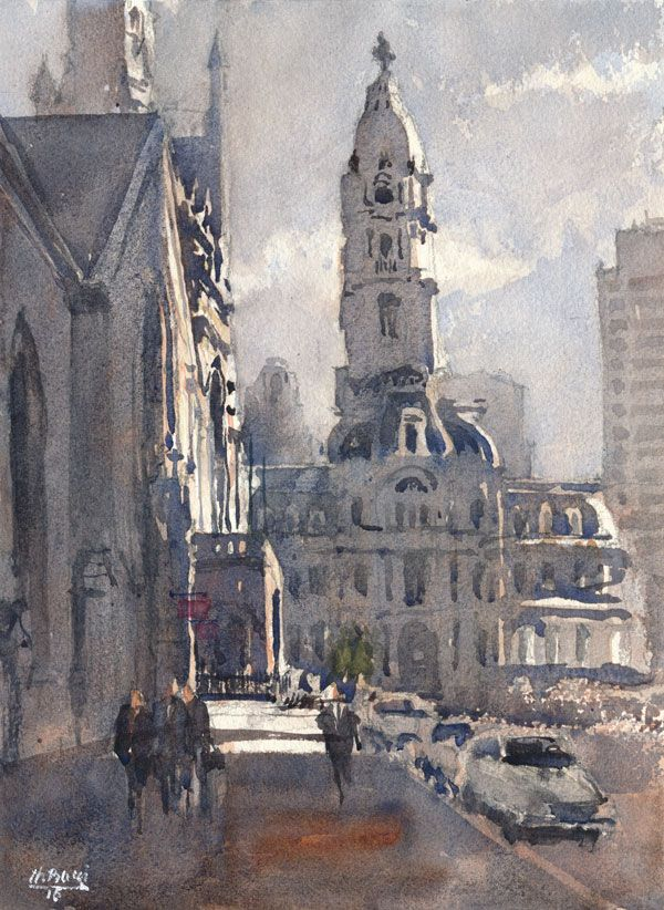 600x822 City Hall Phila Philadelphia Amp Pa Watercolors Hall