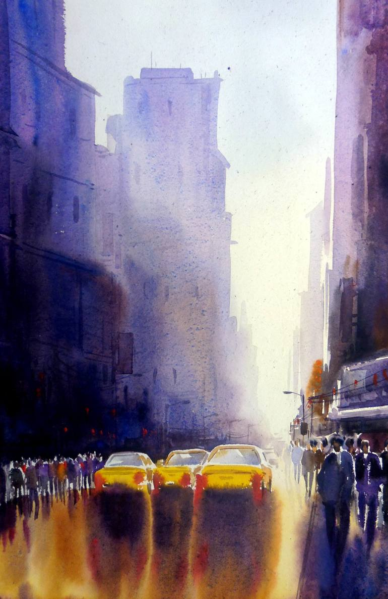 770x1186 City After Rain Watercolor On Paper Painting Painting By Samiran