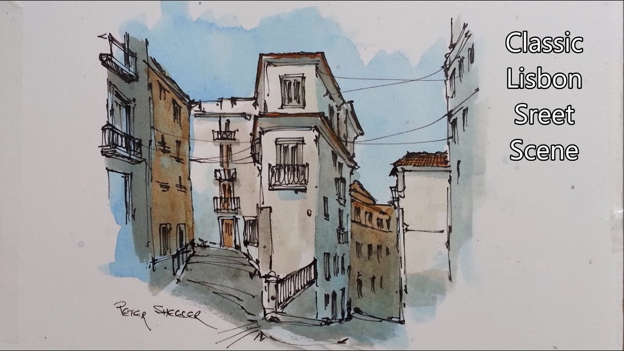 1280x720 Line And Wash Watercolor Demonstration. Classic Lisbon Street In