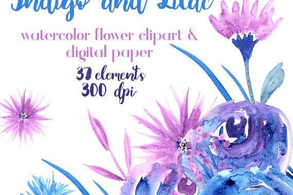 570x380 Blue And Purple Watercolor Flowers, Blue, Purple, Lilac