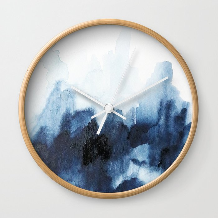700x700 Indigo Watercolor 2 Wall Clock By Jenmerli Society6