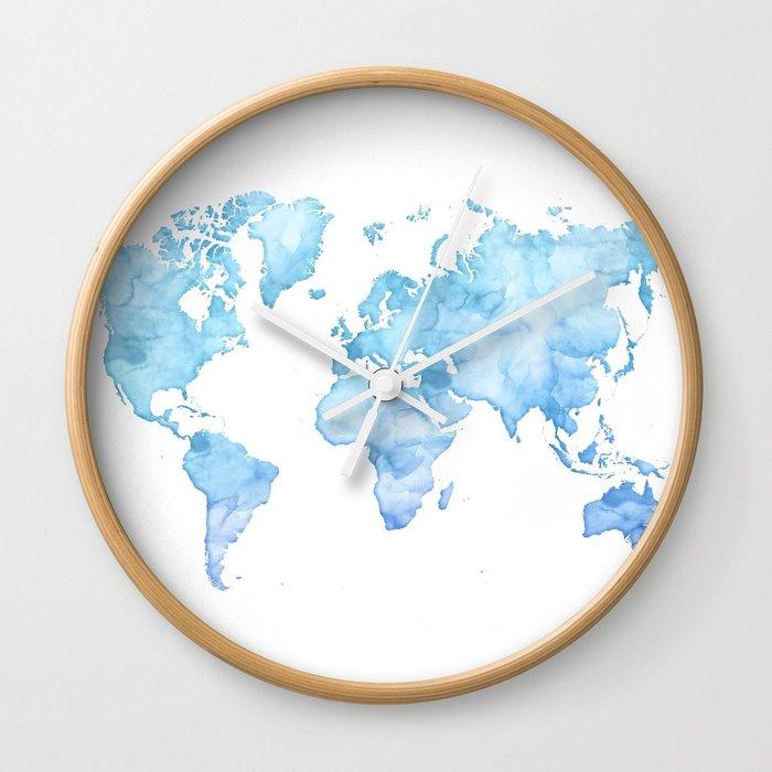 700x700 Light Blue Watercolor World Map Wall Clock By Blursbyaishop Society6