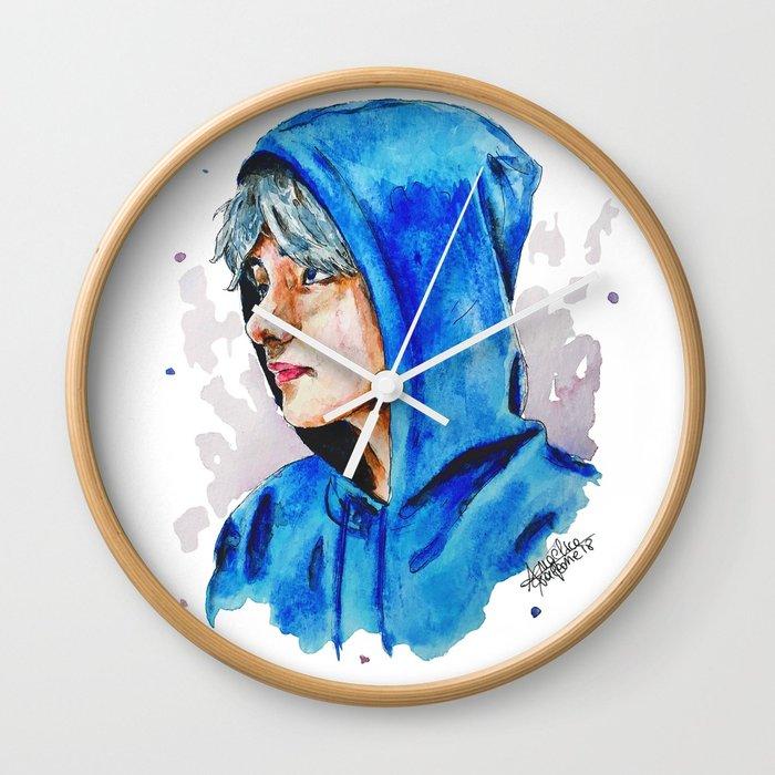 700x700 Taehyung Watercolor Bts Wall Clock By Drawpassionn Society6