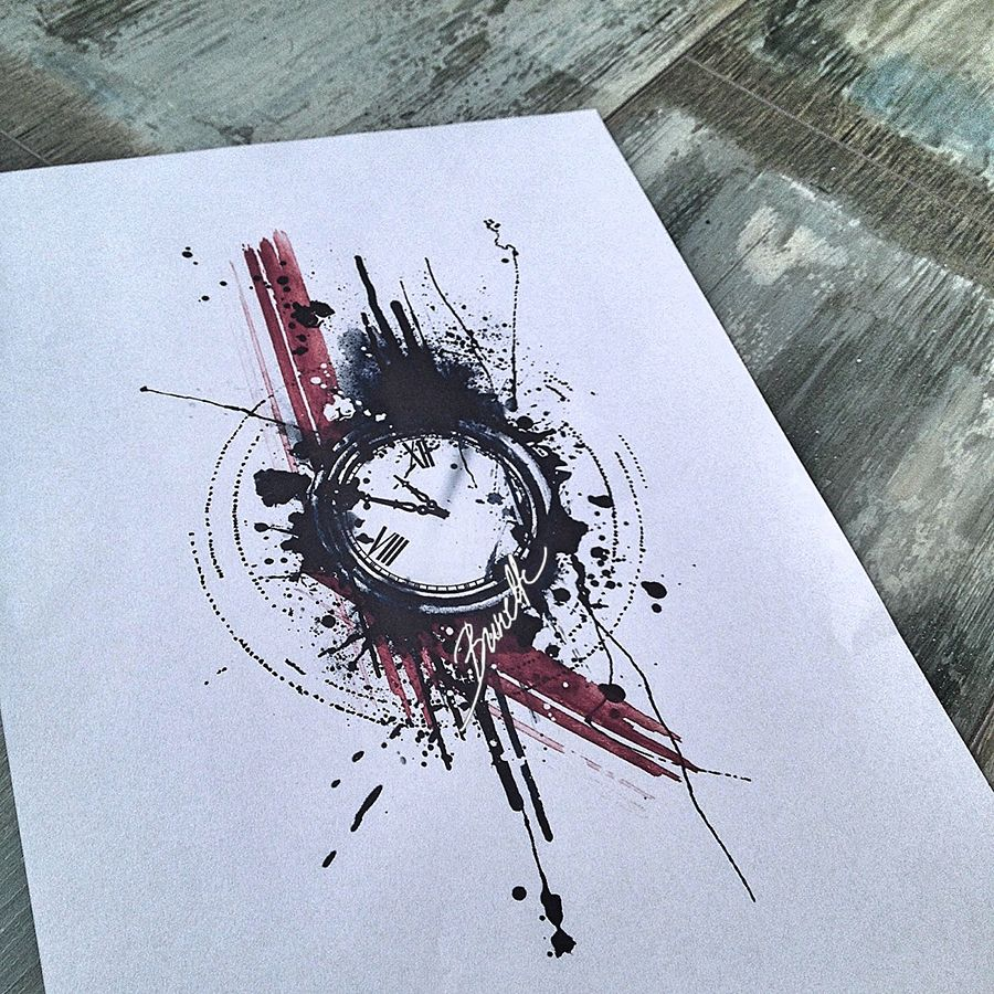 900x900 Abstract Watercolor Trash Polka Clock Tattoo Design Sketching