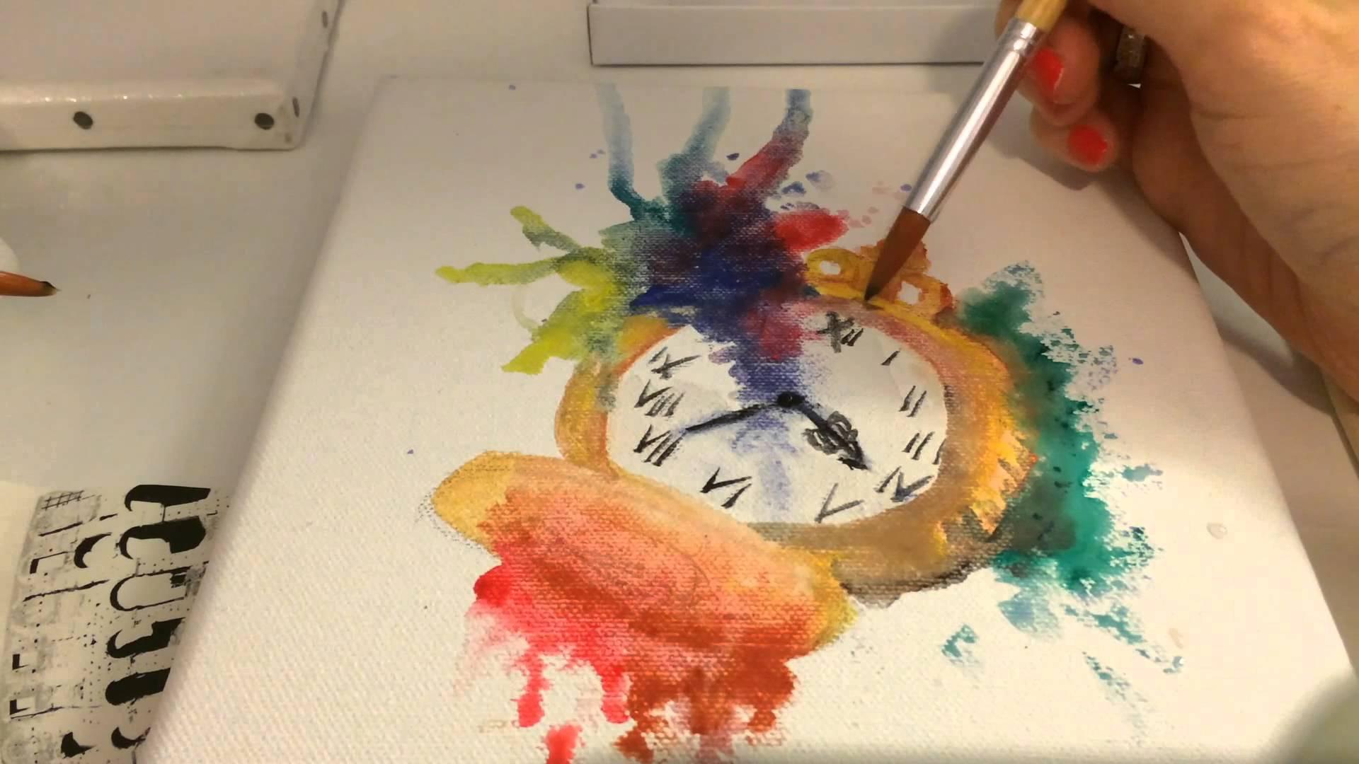 1920x1080 Watercolor Clock Looking Kore