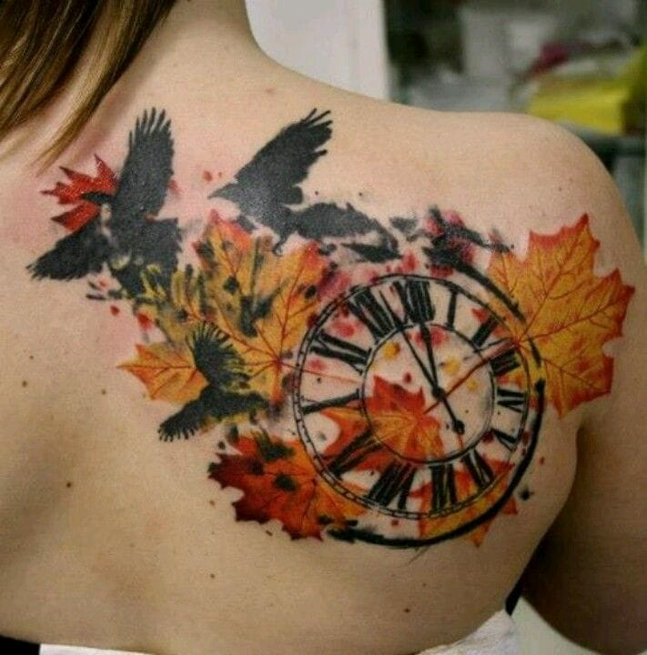 711x720 Watercolor Clock In Fall Leaves Tattoo On Back Shoulder By Timur