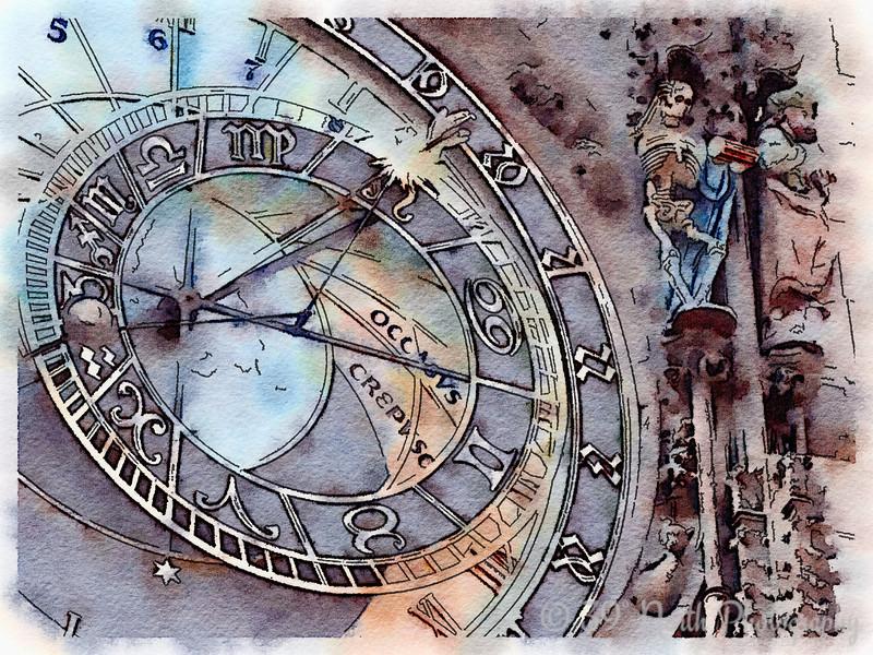 800x600 Watercolor Thursday Astronomical Clock