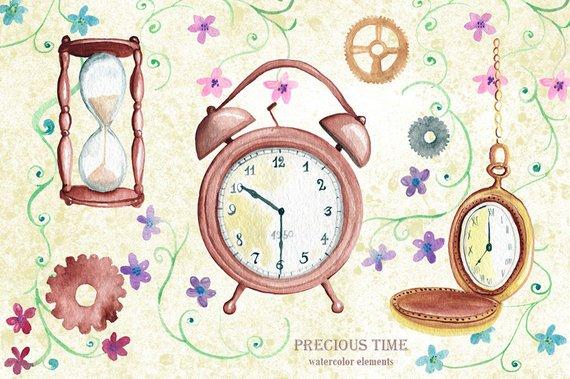 570x379 Watercolor Clip Art. Time Theme. Vintage Clock Sand Clock Etsy