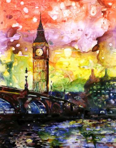 375x478 Watercolor Painting On Yupo Synthetic Paper Of Big Ben (Clock