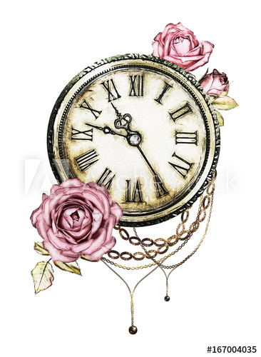 366x500 Watercolor Illustration With Pink Roses, Chain, Clock. Gothic