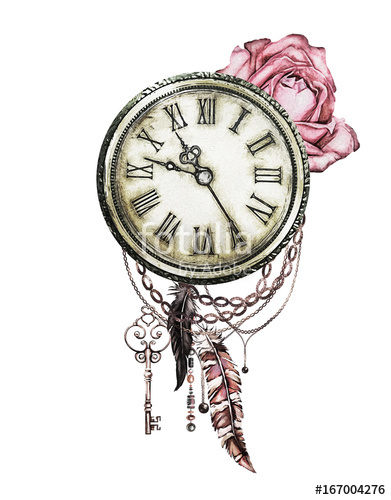 391x500 Watercolor Illustration With Red Roses, Clock, Keys And Feathers