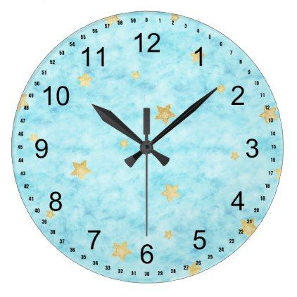 422x422 Blue Watercolor Gold Stars Large Clock Watercolor Style