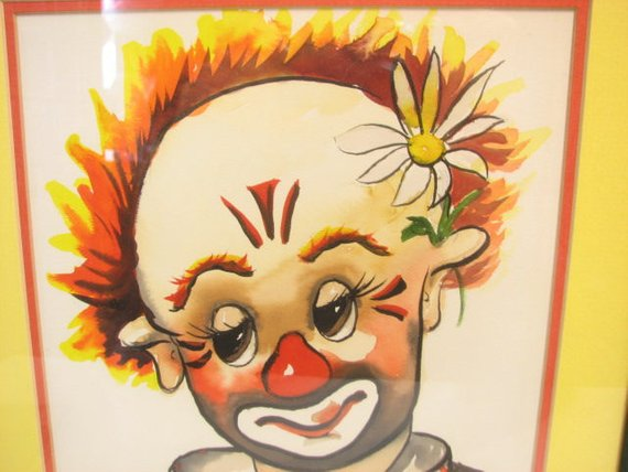 570x428 Original Thayer Clown Watercolor Painting In Frame Etsy