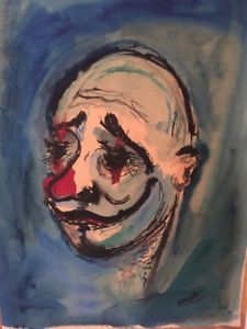 225x300 Original Watercolor 1959 Clown Signed Happy Thoughts Listed