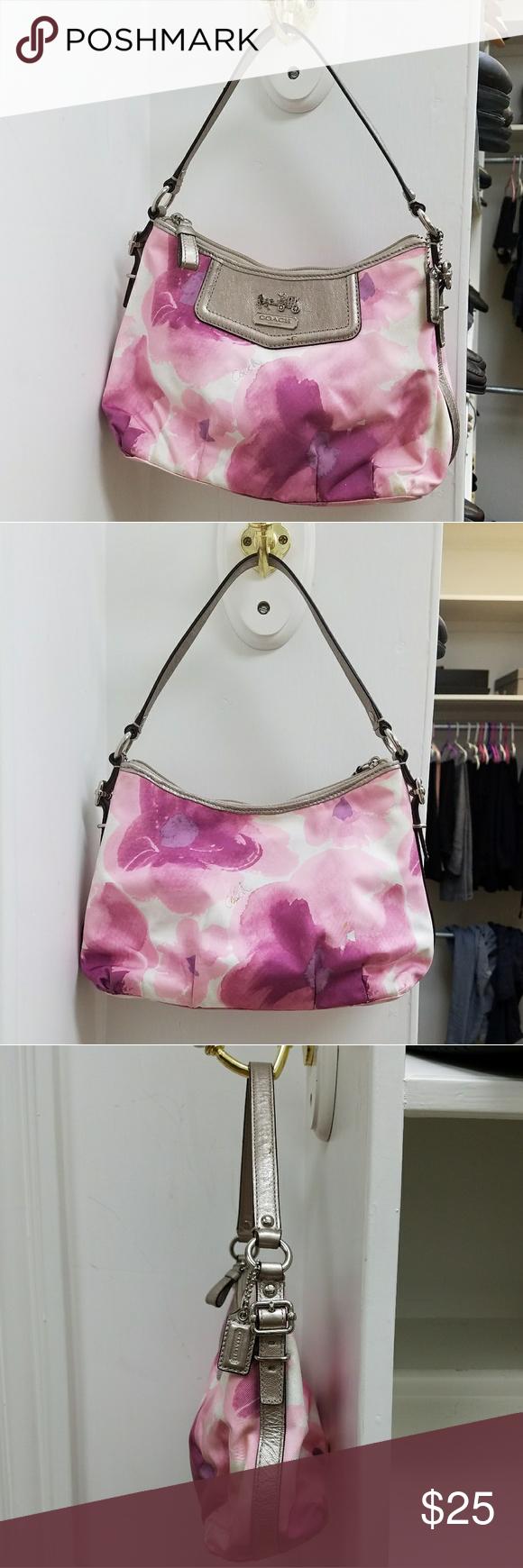 580x1740 Coach Watercolor Floral Print Purse Small Handbag. Pink, Purple