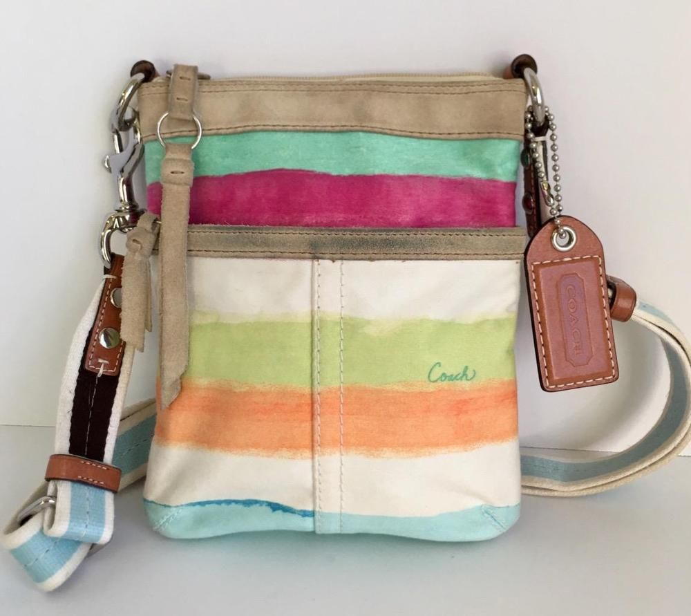 1000x891 Coach Watercolor Stripe Rainbow Crossbody Purse Shoulder Bag White