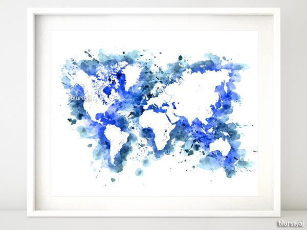 600x450 Cobalt Blue Watercolor World Map In Distressed Strokes Blursbyai