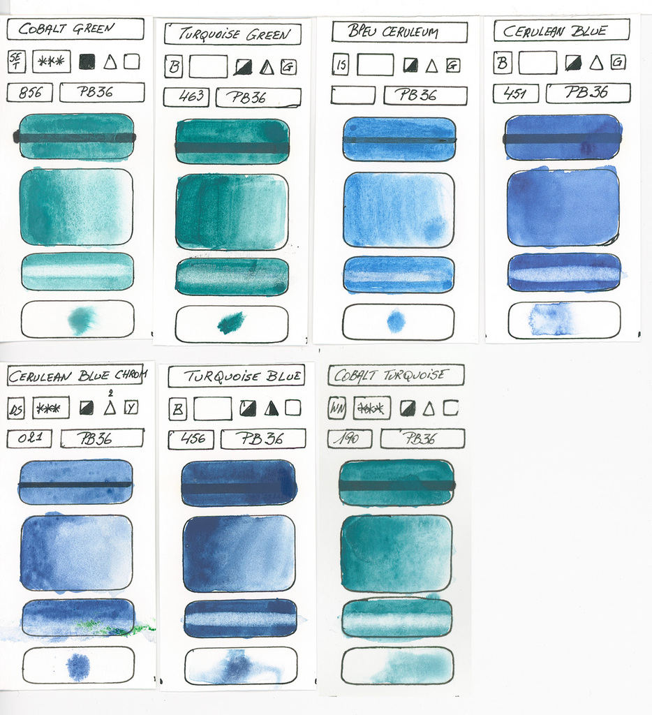 934x1024 Blue Watercolor Paints According To Single Blue Pigments