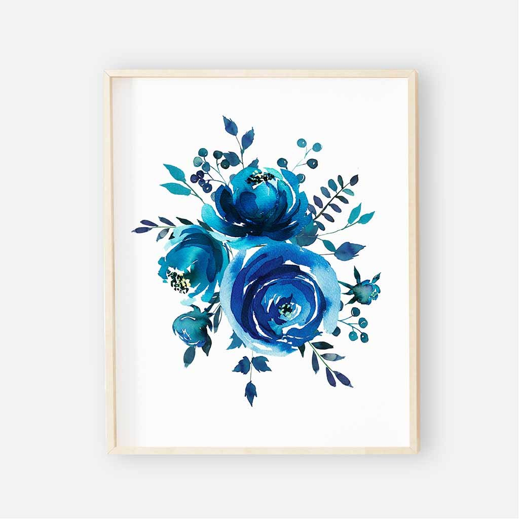 1024x1024 Cobalt Blue Watercolor Floral Alphabet Nursery Art Group Caden Lane