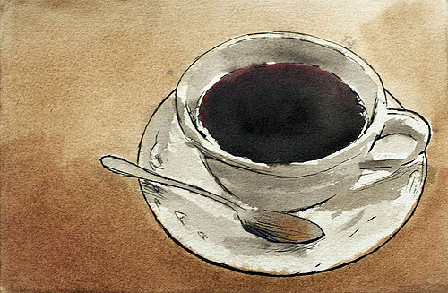 500x327 Simple Coffee Cup Illustration Line Amp Watercolor