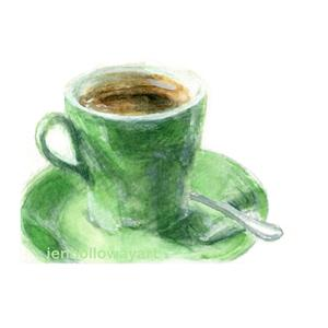 300x300 Watercolor Green Cup, Coffee Cup Print, Green Cup Print, Java Cup