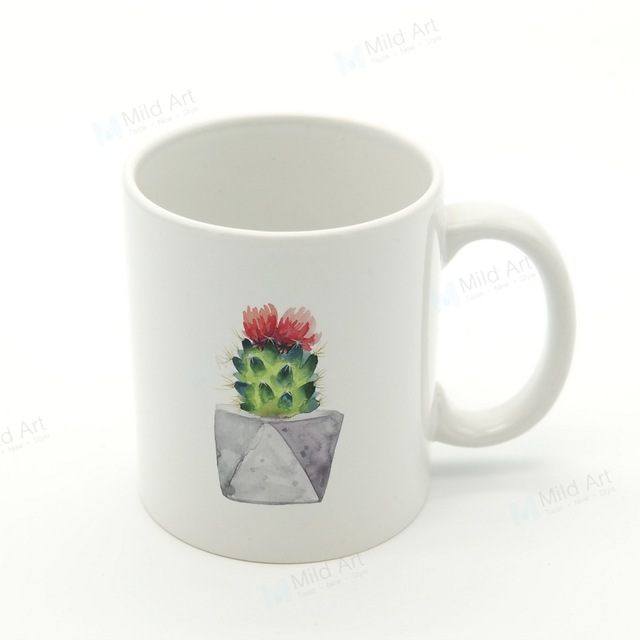 640x640 Watercolor Green Plant Cactus Flower Nordic Kitchen Ceramic Water