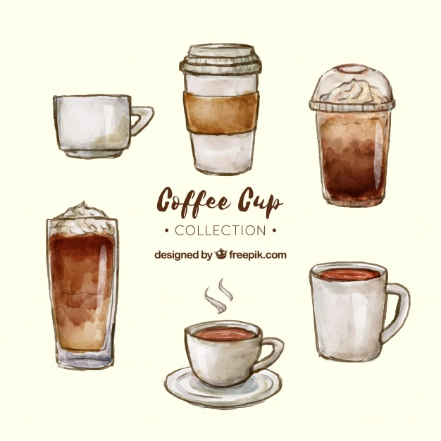 626x626 Watercolor Coffee Cup Collection Vector Free Download