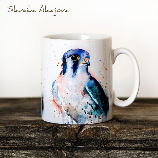 650x650 American Kestrel Watercolor Coffee Mug