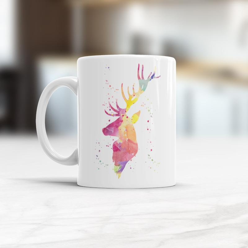 800x800 Deer Mug, Watercolor Deer Head Coffee Mug Cup Antlers Vikitogifts