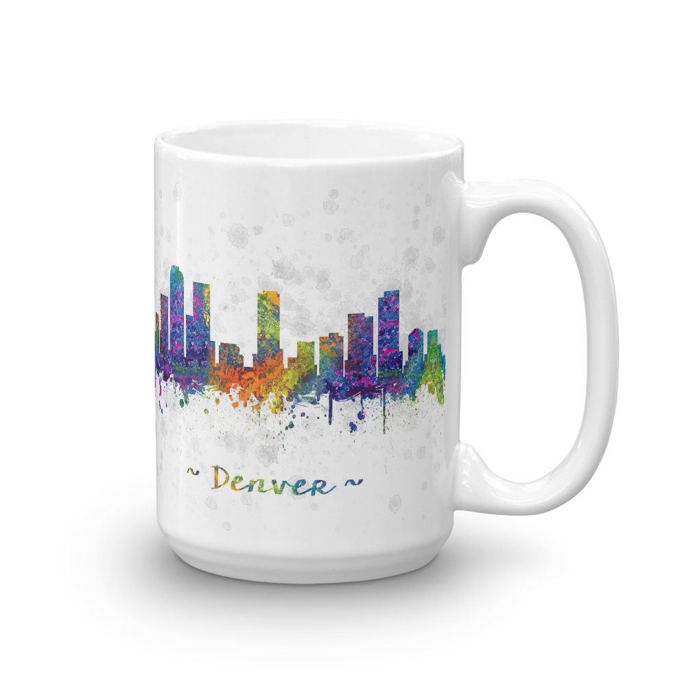 1000x1000 Denver Skyline Watercolor Drawing Coffee Mug Denver Coffee Mugs