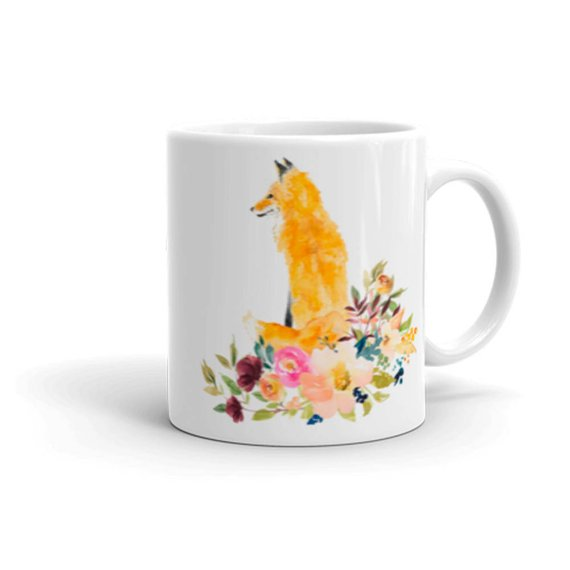 570x570 Fox And Flowers Coffee Mug Watercolor Fox Coffee Mug Tea Etsy