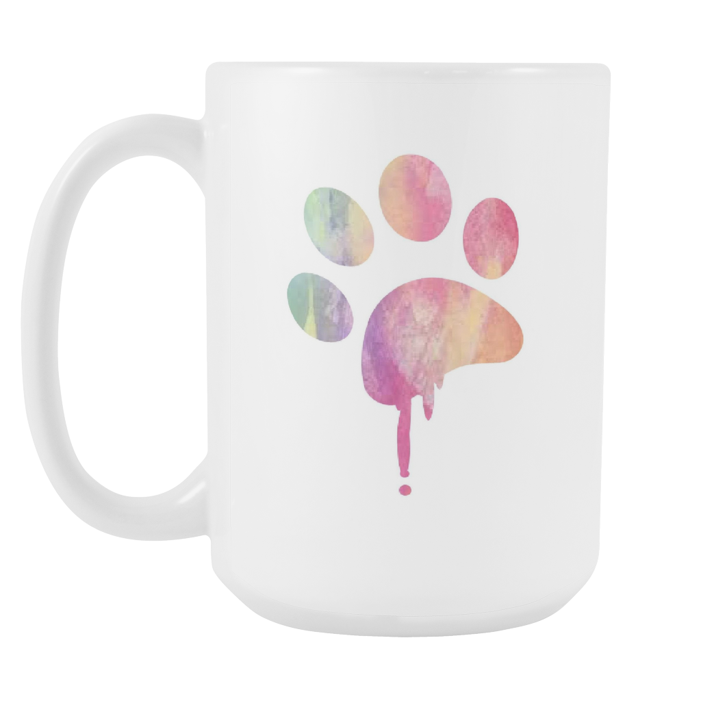 1024x1024 Fresh Watercolor Paw Print Coffee Mug 15 Oz. Swanky Bazaar