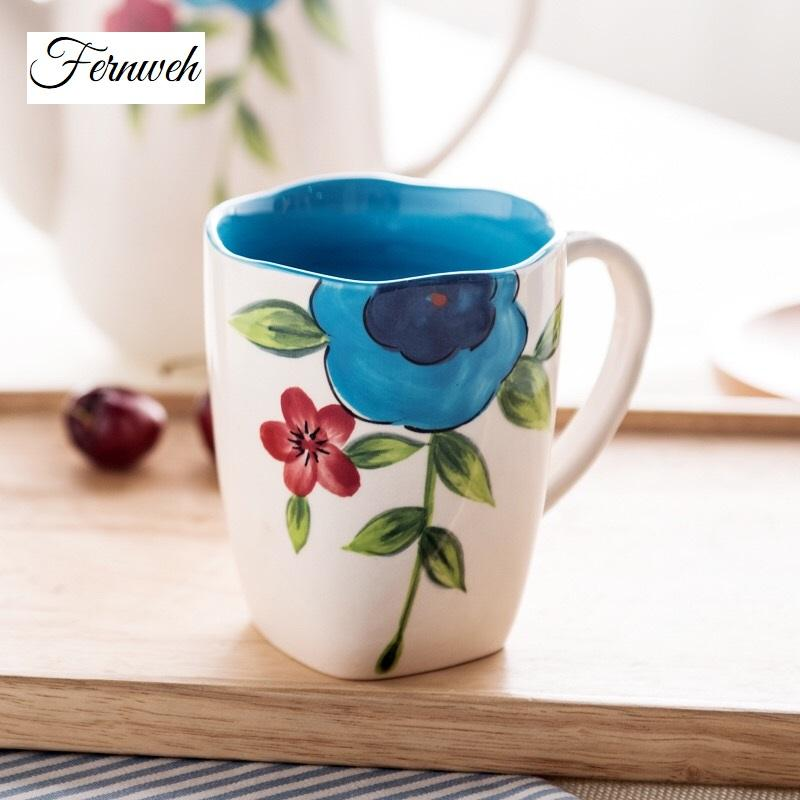 800x800 Hand Painted Watercolor Floral Coffee Mug Fernweh Jewelry