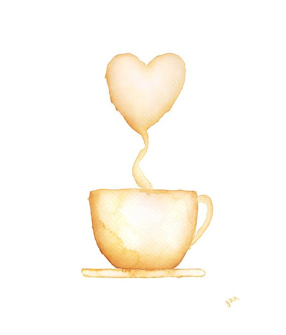 570x667 Items Similar To Coffee Cup Watercolor Painting Cocoa Painting Hot