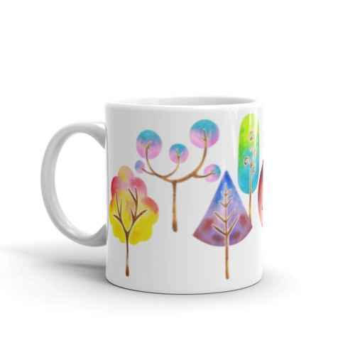 500x500 Trees Mug, Watercolor Mug, Coffee Mug, Nature Mug, Watercolor Art