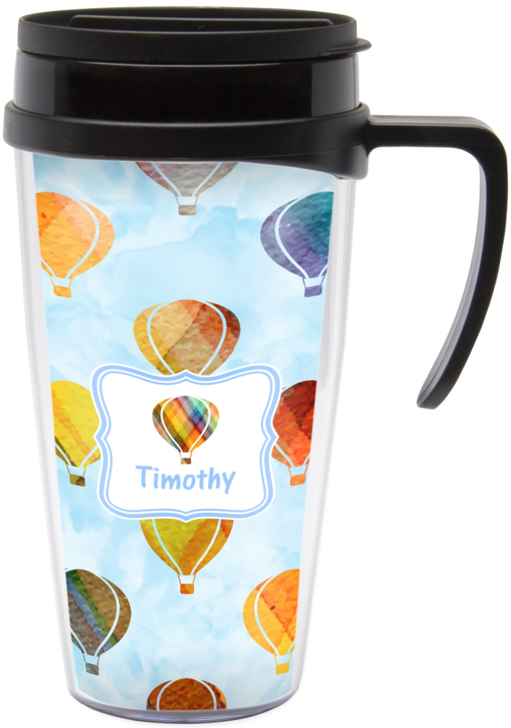 1054x1500 Watercolor Hot Air Balloons Travel Mug With Handle (Personalized