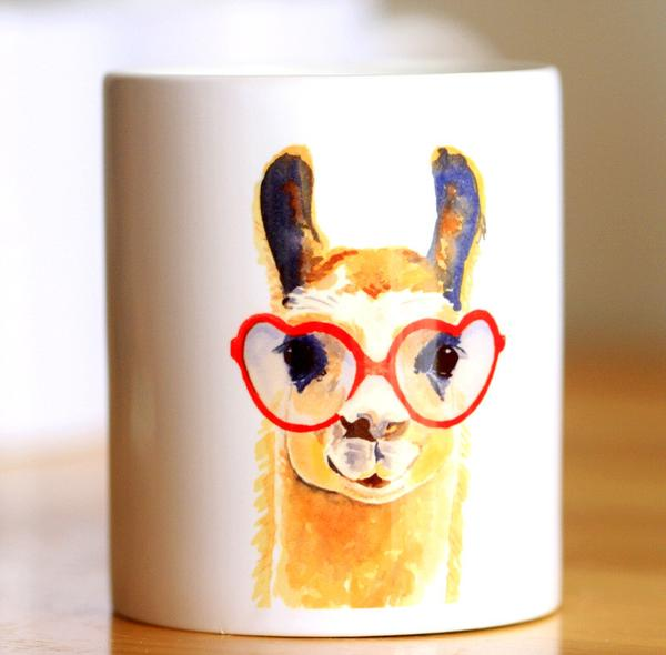 600x590 Watercolor Llama Coffee Cup Caffeine Craze