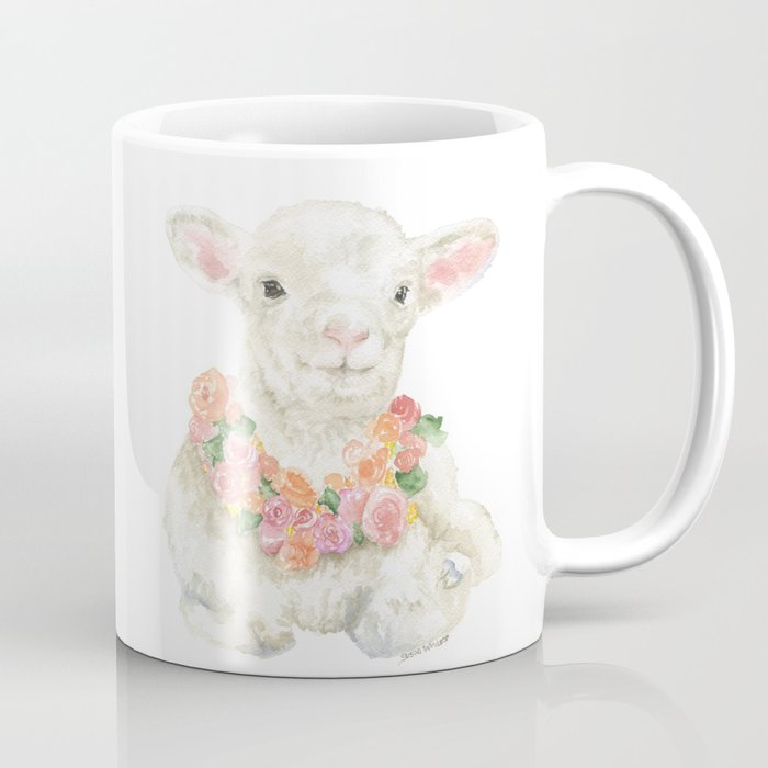 700x700 Baby Lamb Floral Watercolor Farm Animal Coffee Mug By Susanwindsor