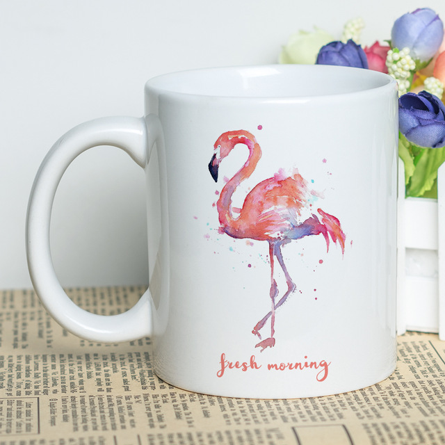 640x640 Watercolor Painting Printed Flamingo Cup 11oz Classic Porcelain