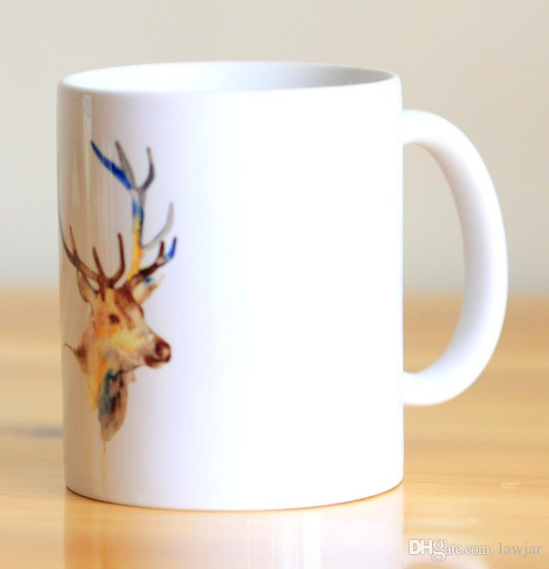 772x800 Wholesale Watercolor Deer Ceramic Mug Coffee Cup Milk Mug With