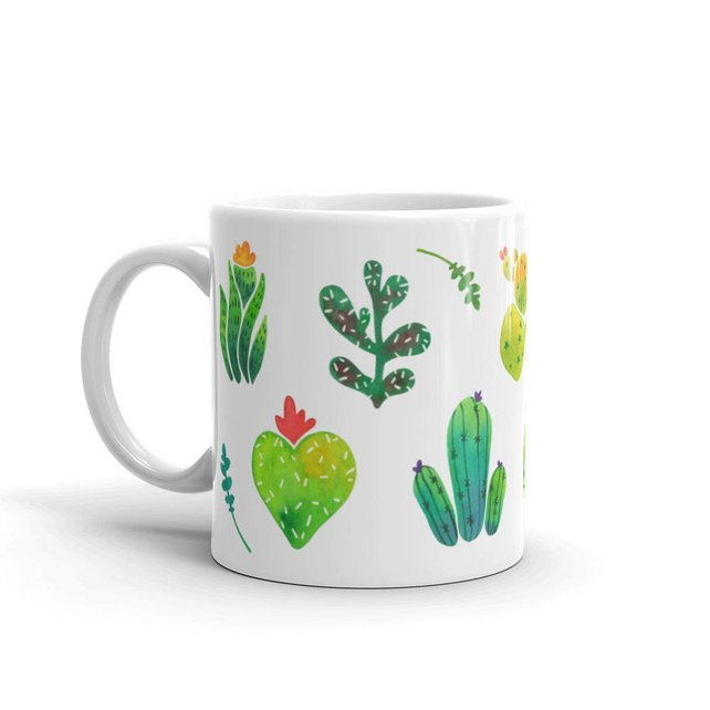 642x642 Cactus Mug Coffee Mug Floral Mug Watercolor Art Mug Etsy