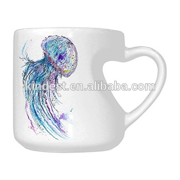 350x350 Ceramic Watercolor Creative Sea Life Art Jellyfish Heart Shaped