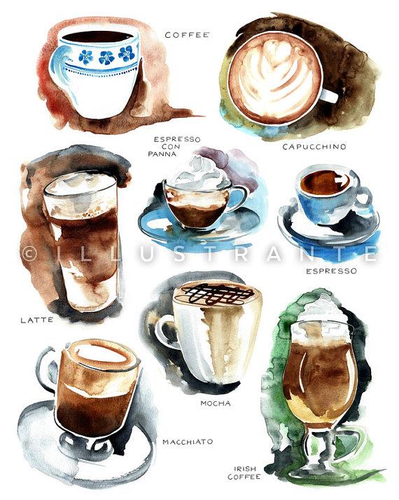 570x713 Coffee Art Print, Coffee Decor Kitchen, Coffee Watercolor, Coffee