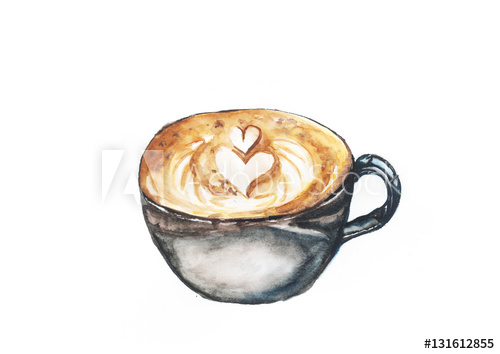 500x354 Coffee, Watercolor Painting Isolated On White Background
